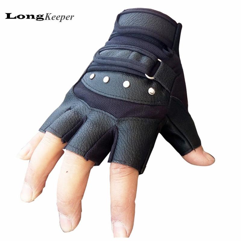 Longkeeper guante de cuero negro semi dedo táctico Guantes