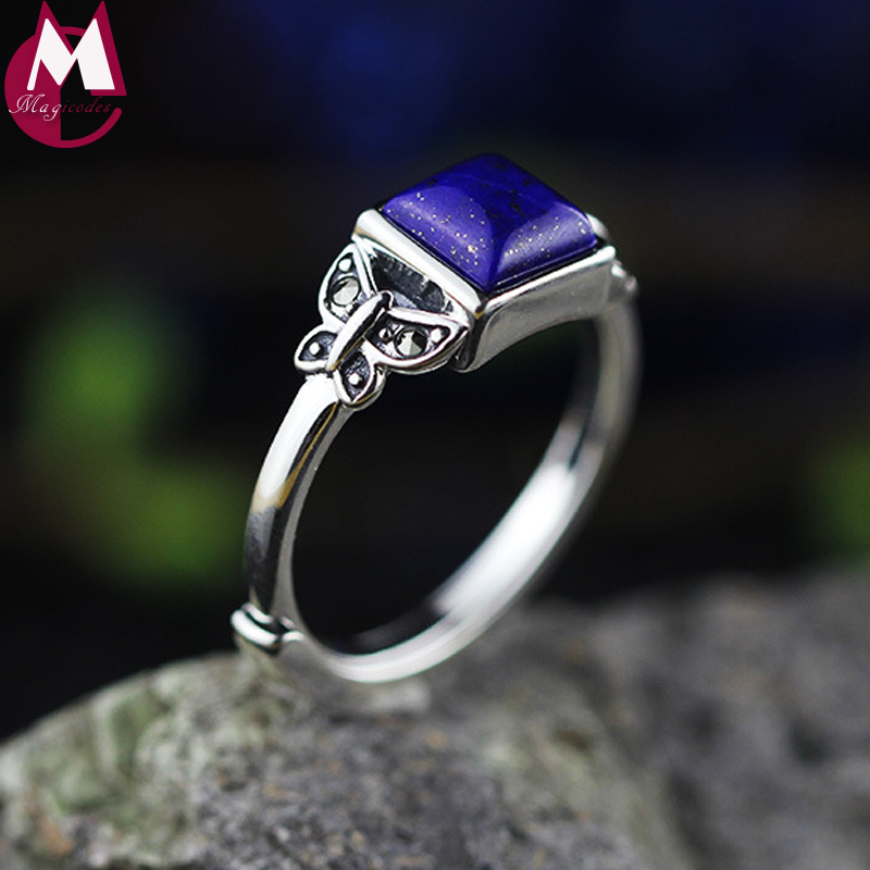 Genuine 925 Sterling Silver Square Gemstone Lapis Handmade Insect Design Adjustable Wedding Rings For Women Gift For March 8