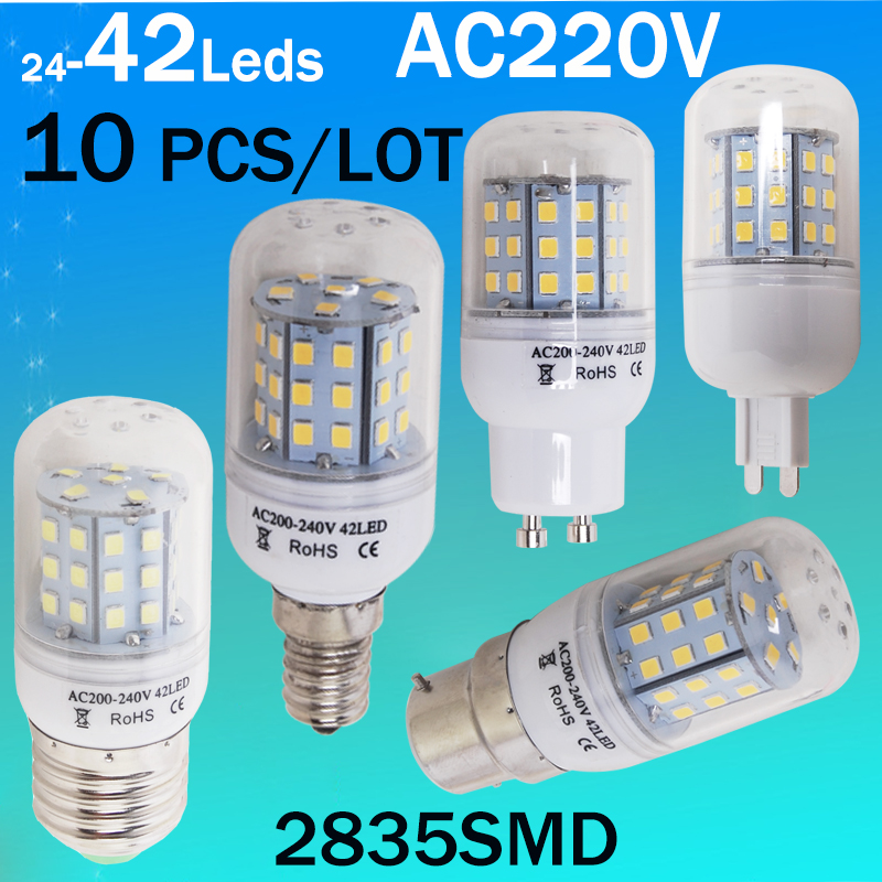 10 piecese /lot Wholesale E27 E14 B22 Gu10 G9 Led Bulb SMD 2835 LED Candle lampada led Chandelier ...