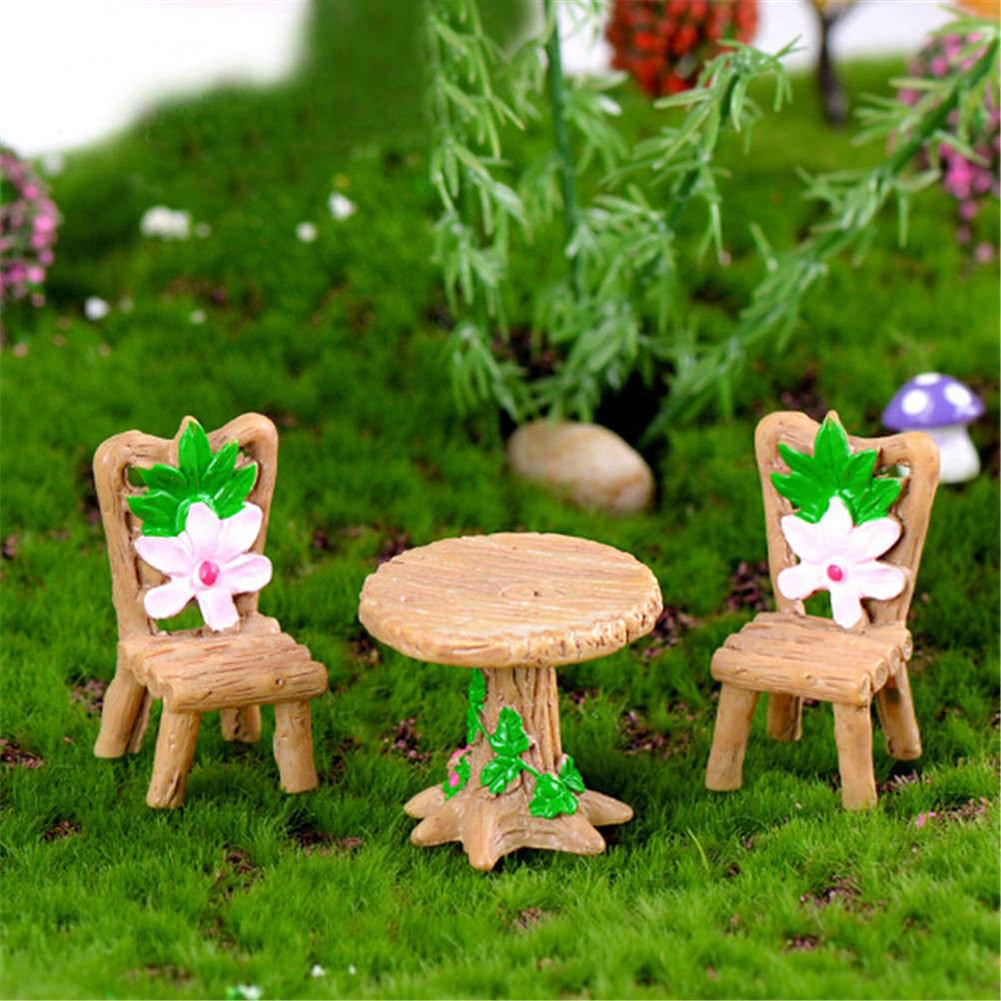3Pcs Floral Table Chairs Miniature Micro Landscape Fairy Garden Dollhouse Decor