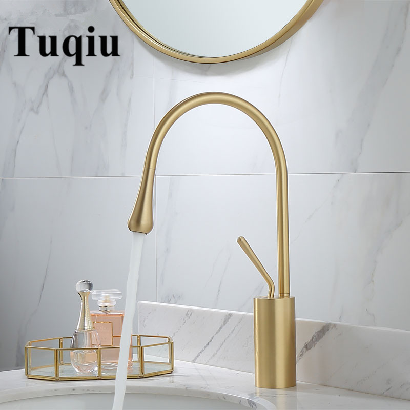 Basin Faucets Brushed Gold/Black/White Sink Faucet Brass Faucet Single handle Kitchen Faucet Swivel Sink Water Crane New ArrivalBasin Faucets Brushed Gold/Black/White Sink Faucet Brass Faucet Single handle Kitchen Faucet Swivel Sink Water Crane New Arrival