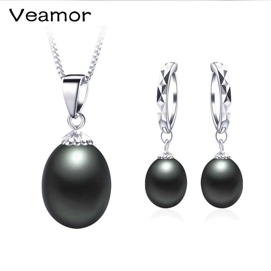 VEAMOR Popular Elegant 925 Sterling Silver Black Pearl Jewelry Set for Women Pendant Necklace & Earrings Wedding Party Jewelry