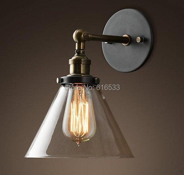 Loft Vintage Industrial Retro Lustre Glass Copper Edison Wall Sconce Lamp Bathroom Bedroom Mirror Home Decor Lighting Fixture