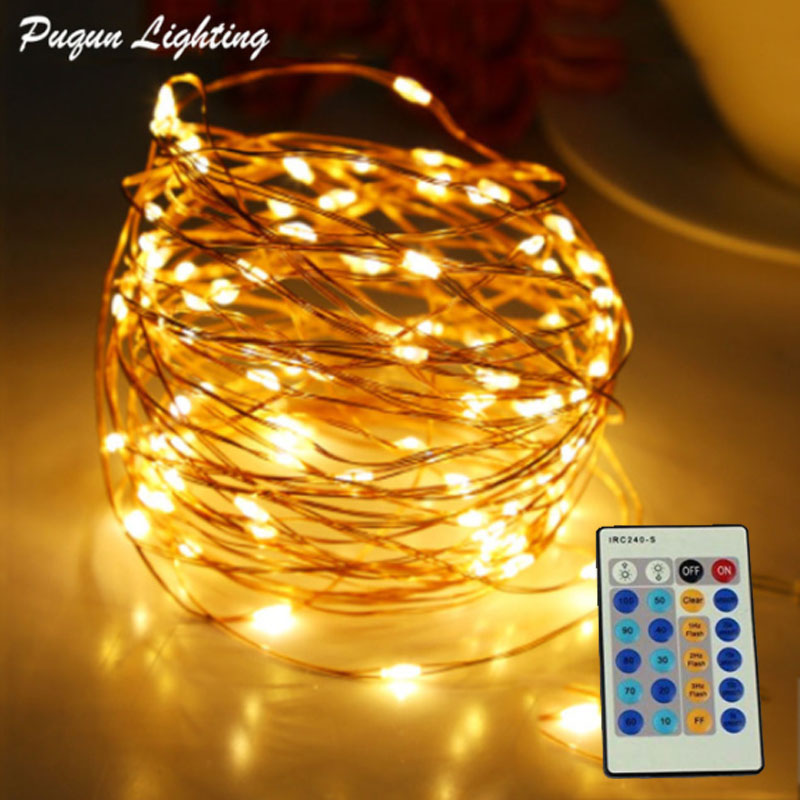 Afstandsbediening 10 m 20 m 30 m 50 m LED String Fairy Lights Outdoor koperdraad LED Christmas Light Tree Decoratie + Power Adapter