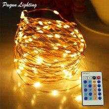 Купить с кэшбэком IR Remote Control 30m 300 LED Outdoor Christmas Fairy Lights Warm White Copper Wire LED String Lights Starry Light+Power Adapter