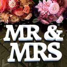 Taoup Mr & Mrs Wooden Letters Set Propose Prop English Alphabet Letters Wood Rustic Wedding Decor Events Accessories Ornaments(China)