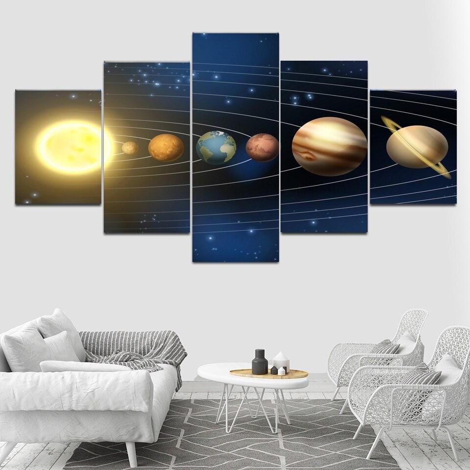Toile mur Art modulaire photos décor à la maison 5 pièces système solaire espace galaxie peintures salon imprimé affiches