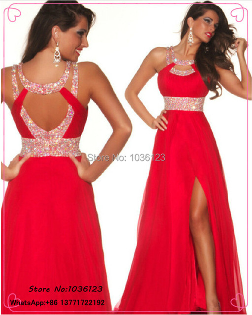 Hot Sale In Stock Long Elegant Sexy Red Prom Dresses 2015 Party Gowns  Vestidos de festa Floor Length Chiffon Beaded Pageant Slit 5325b76ff47f