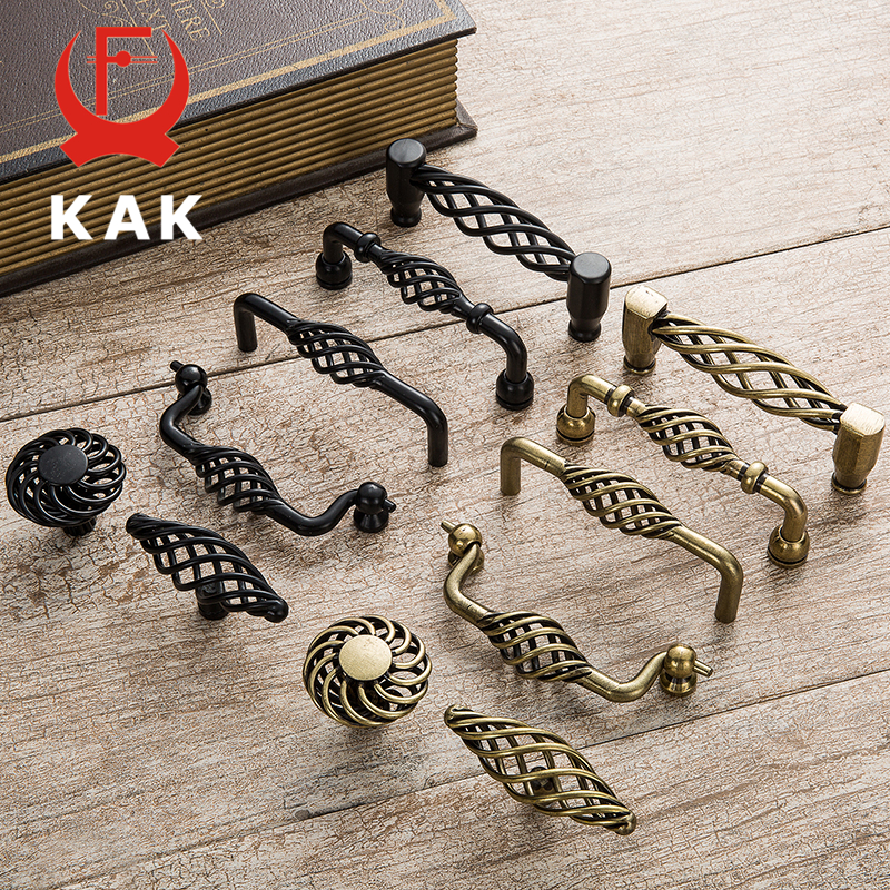KAK 5PCS Vintage Antique Bronze Cabinet Handles Hollow Out Birdcage Handles Drawer Knobs Wardrobe Door Pullers Furniture Handle 5pcs vintage furniture door handle pulls antique drawer wardrobe closet cabinet knobs and handles cc 85mm