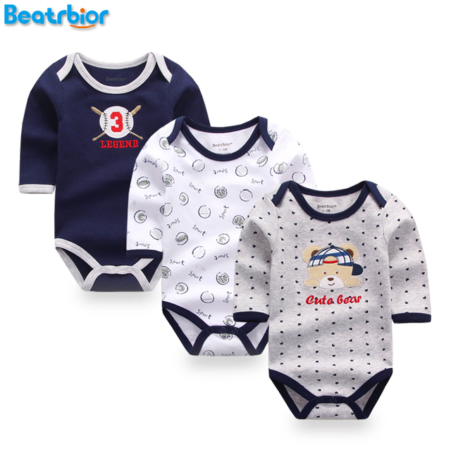 c627c0016ad7 3 Pcs Baby Rompers Long Sleeve Cotton Baby Clothing Overalls for ...