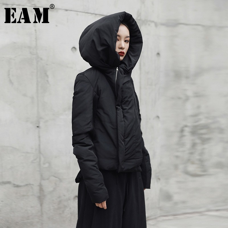 EAM 2019 New Spring Hooded Long Sleeve Black Loose Keep Warm Personality Cotton padded Coat
