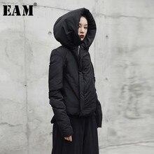 [EAM] 2018 новое осенне-зимнее пальто с капюшоном и длинным рукавом черное свободное сохраняющее тепло индивидуальное хлопковое Стеганое пальто Женская мода прилив JI082