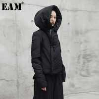 [EAM] Hooded Thickening Black Short Cotton-padded Coat Long Sleeve Loose Fit Women Parkas Fashion New Autumn Winter 2019 JI08