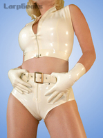 Fashion Women White Latex Lingerie Set Rubber Tanks And Underwear Clothing Set With Waist Belts And