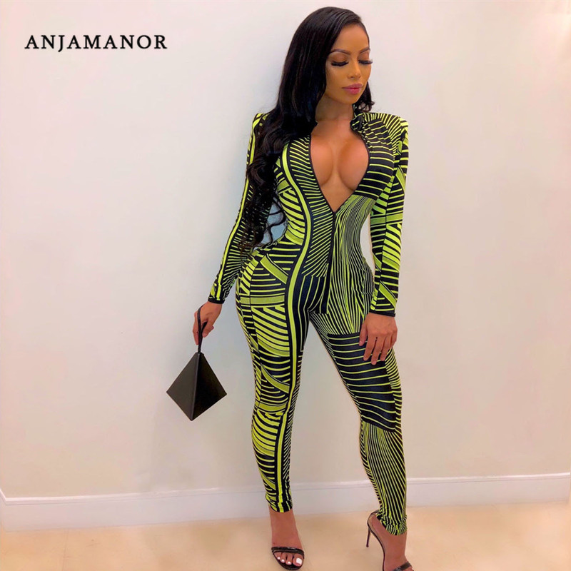 ANJAMANOR Geometric Stripe Print Sexy Bodycon Jumpsuit Women Fall 2020 Zipper Long Sleeve Romper Pants Night Out Outfits D91AD48
