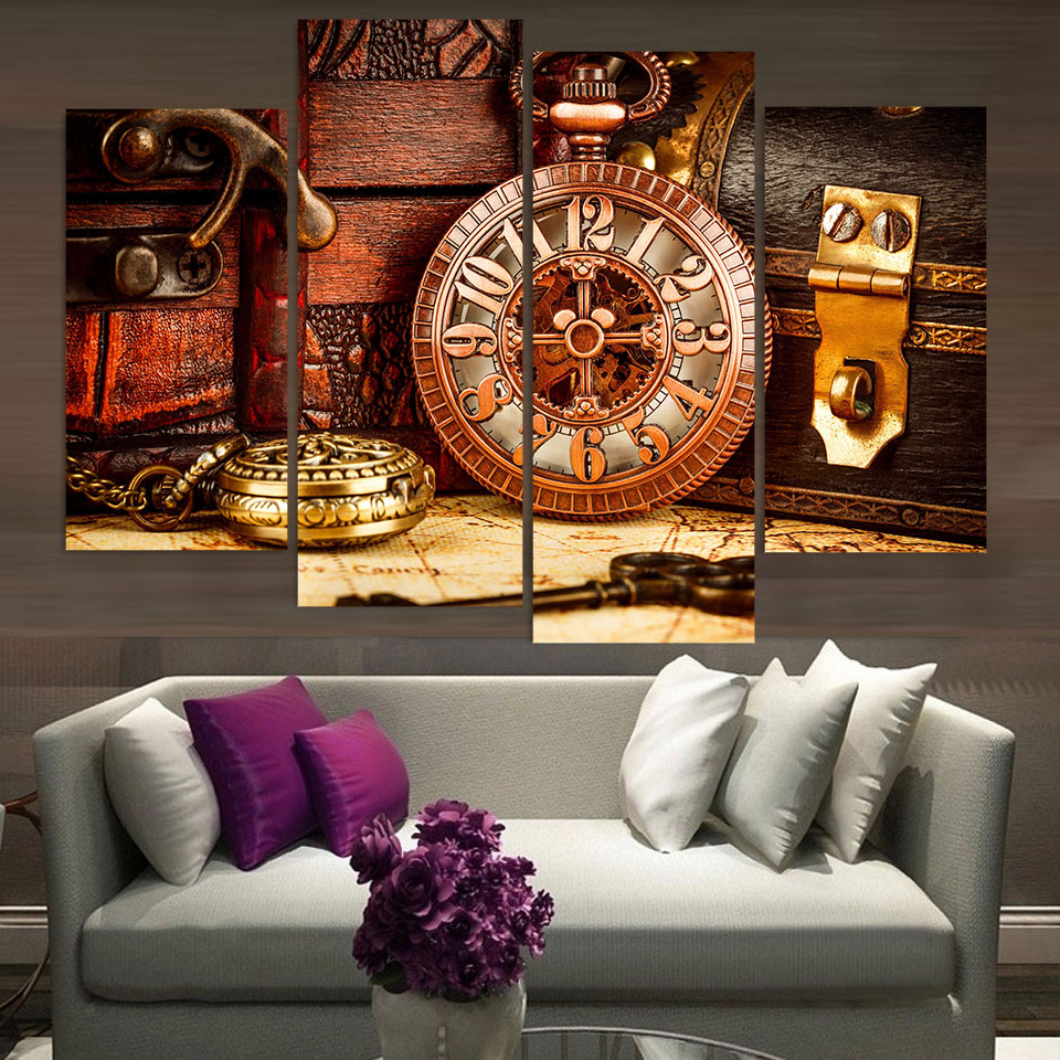 Canvas painting 4 piece canvas art vintage watch box key for Decor 6 piece lunchbox