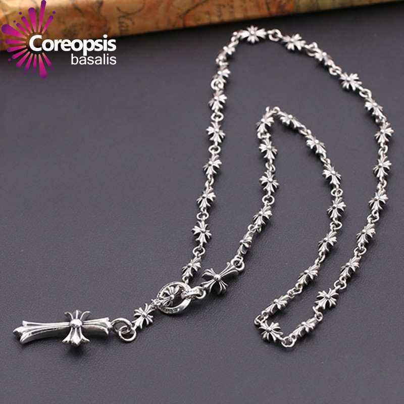 COREOPSIS Jewelry Thai Silver Style Necklaces Male And Female General Korean Version Pullovers Chain Cross font