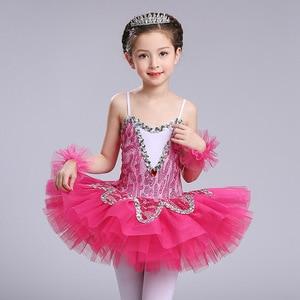 Image 2 - blue professional ballet tutu for girls kids sequin ballet tutu child dance costume for girls