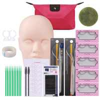 Professional 12PCS/Set Makeup Tool Kit Training Head Model False Eyelashes Extension Practice Silicone Mannequin Head