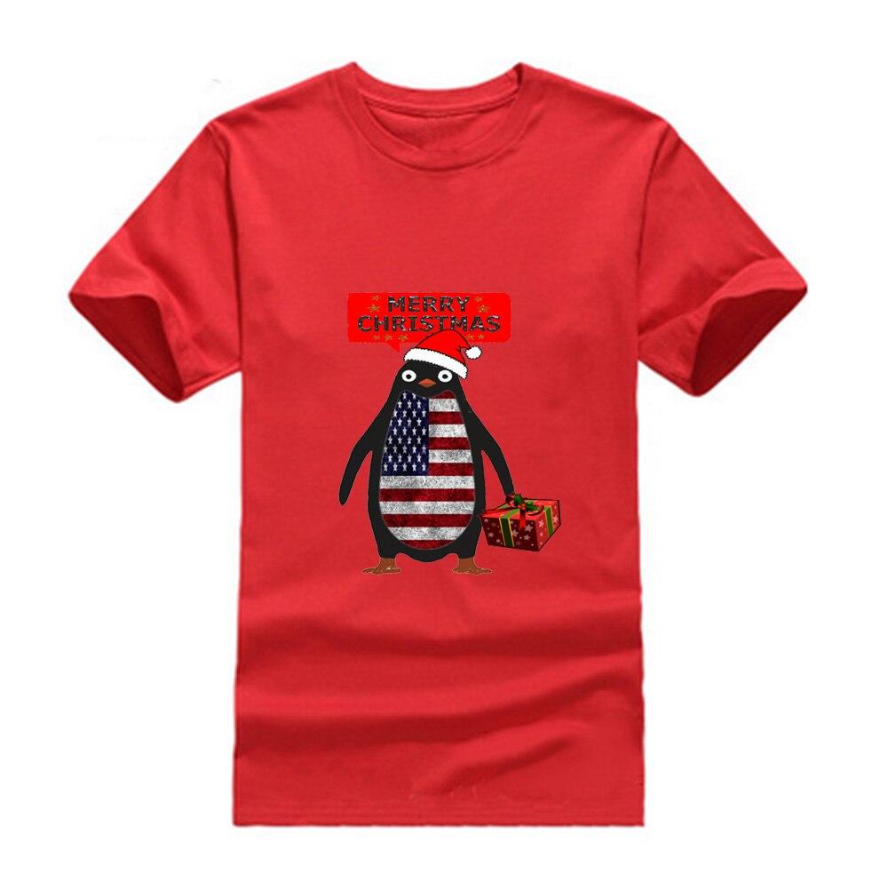 Gresanhevic Mens United States Penguin say Merry Christmas T-shirts Short Sleeve Man Clothing