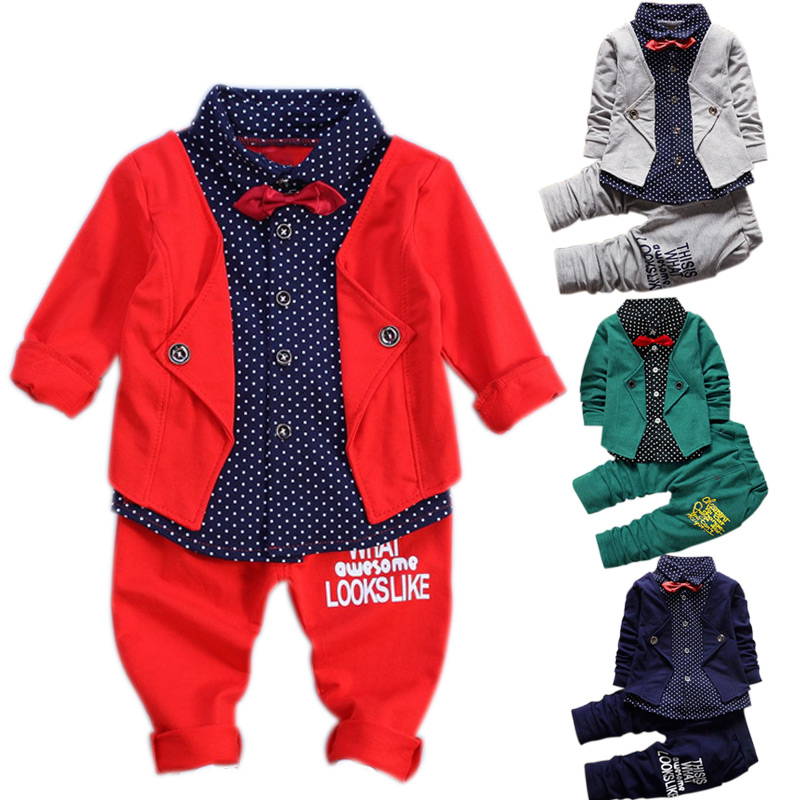 Autumn Babys Sets Kids Baby Boys Button Letters Bow Clothing Sets Shirt Jacket + Pants 2-Piece Suit Set Birthday Gift FJ88