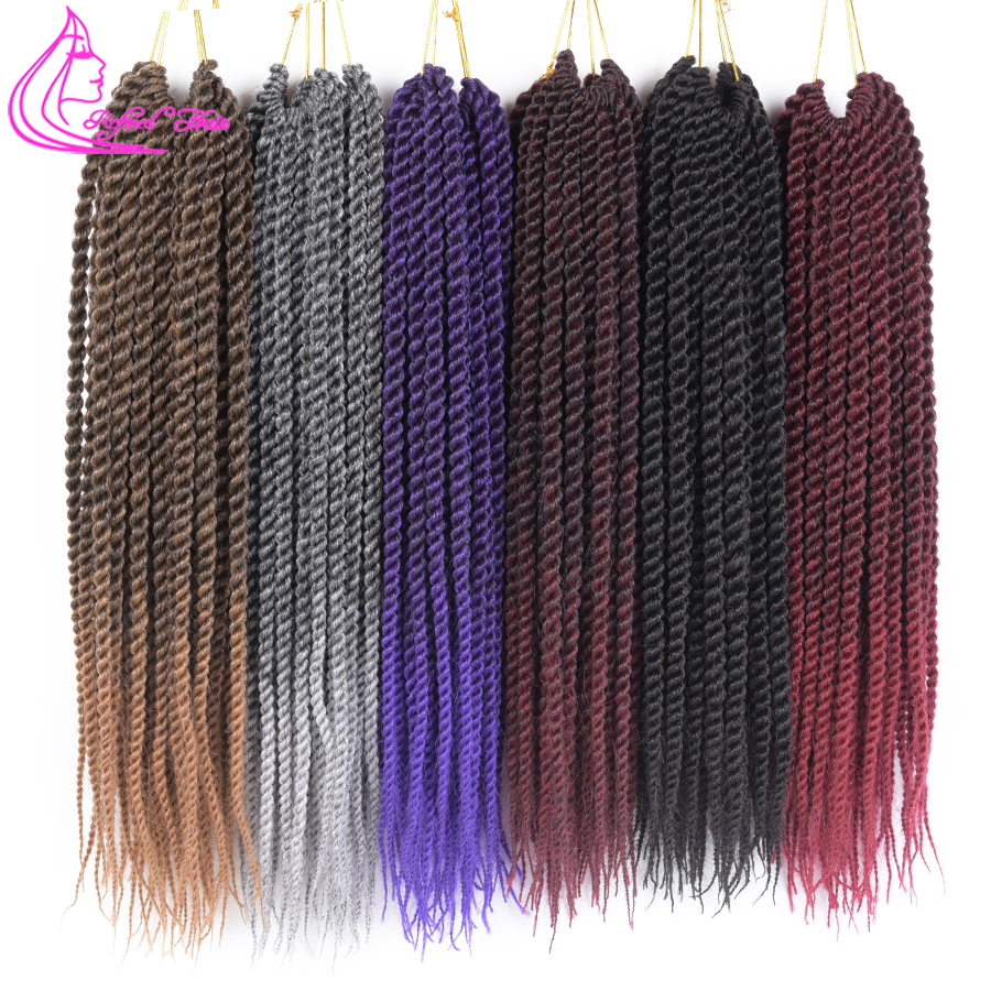 Refined Hair 12 14 16 18 20 22Inch 22Roots Medium Crochet Braids Senegalese Twist Hair Extensions Ombre Brown Grey Red Braid