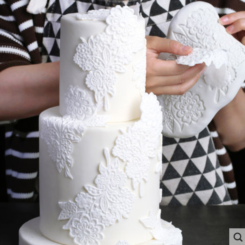 Lace Border Decor <font><b>Flower</b></font> Mould Silicone Mold Fondant <font><b>Cake</b></font> <font><b>Decorating</b></font> <font><b>Tool</b></font> Gumpaste Sugarcraft Chocolate Forms Bakeware image