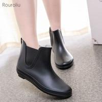 02b68b8220 Rouroliu Women Non Slip Waterproof Water Boots Female Platform Ankle  Rainboots Woman Autumn Winter Footwear Wellies