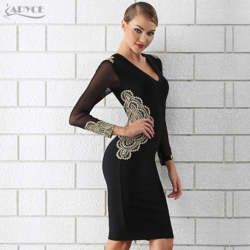 Женское вечернее платье ADYCE, черное платье с длинным рукавом, кружевом и глубоким V-образным декольте в стиле звезд, для клуба, для зима, 2019