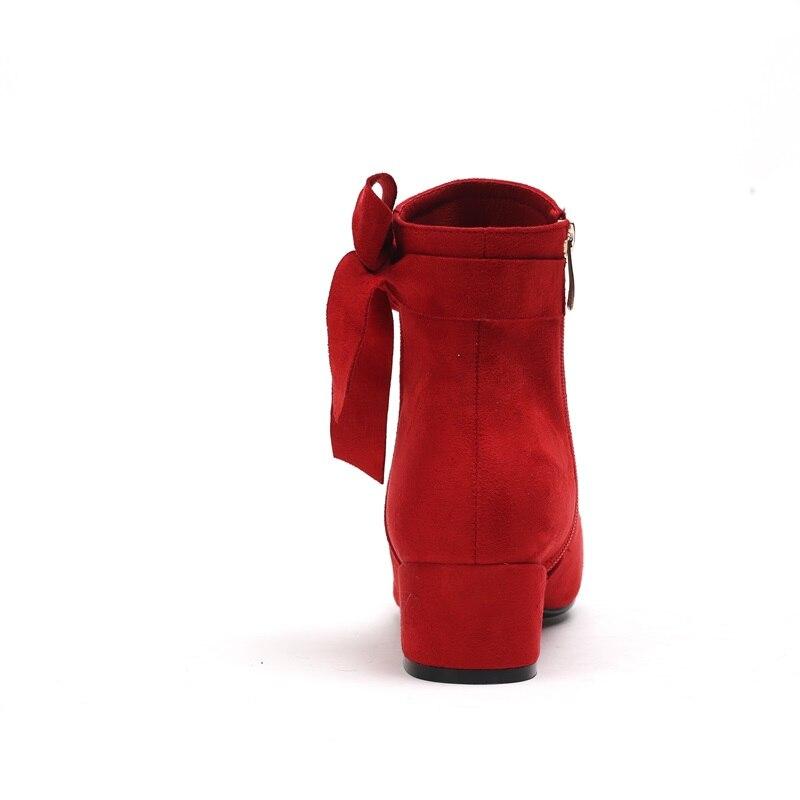 ded40526028f6e Bottes Egonery Femmes noeud Cheville Troupeau Mariage Mode Talon D'hiver  2018 Red Papillon Nouvelle Vente Carré Glissière Chaude Med Chaussures De  Orteil ...