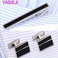 Vagula onyx abotoaduras prendedor de gravata definir perfeita alfinete de gravata abotoaduras de prata set atacado tie bar link set 55