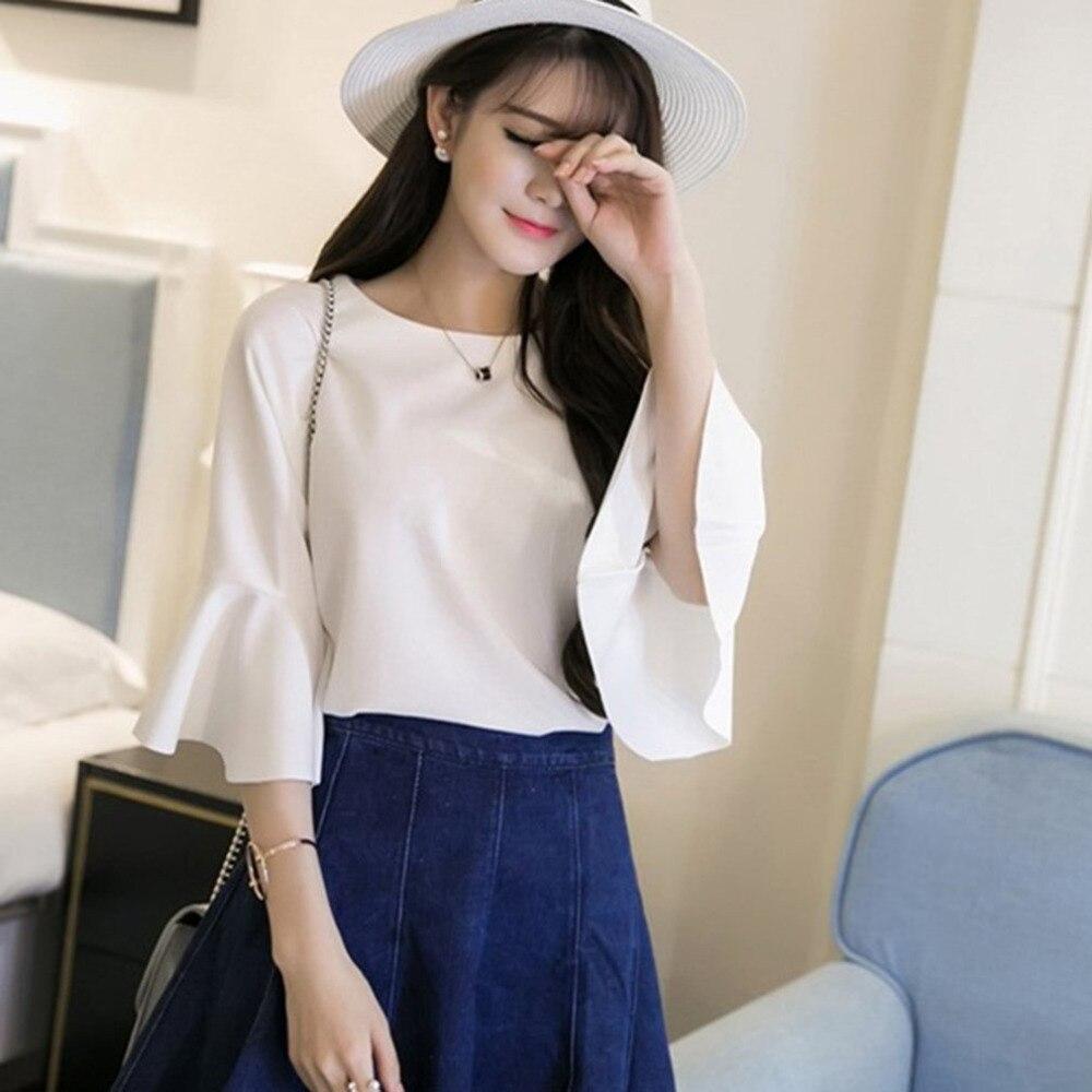 Women   Blouse     Shirts   Elegant Ruffles Women Tops Plus Size Flare Sleeve Solid Casual Loose   Shirt