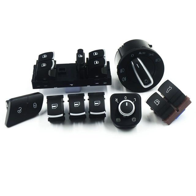 8pcs/lot Window Headlight Auto Mirror Tailgate Fuel Door Switch Button For VW Passat B6 Tiguan 3C0962125B 5ND959565A 5ND941431B