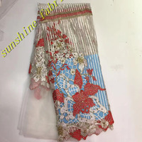 Beaded African Tulle Lace Fabric 2017 African French Lace Fabric High Quality With Stones Nigerian Embroidery Tulle French Lace
