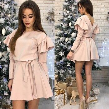 Women Sashes Ruffled a Line Party Dress Ladies Long Sleeve O Neck Elegant Dress 2019 Female autumn Solid Mini Dress 3