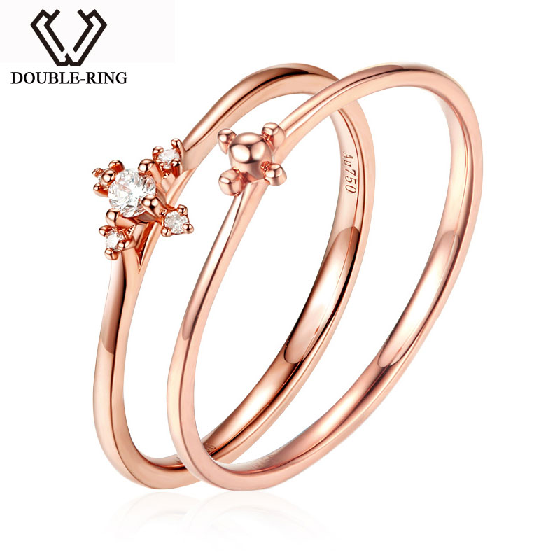 DOUBLE-R Natural Real Diamond Engagement Rings 18 K Solid Rose Gold Rings for Women Double Ring New Design Diamond Jewelry