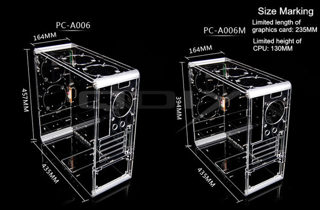 QDIY PC-A006 Vertical Transparent Chassis Acrylic Personalized Computer Case 1