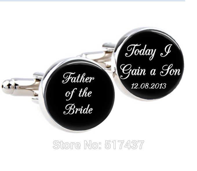 1 par padre de la novia, gemelos personalizados, hoy tengo un hijo, accesorio de la boda gemelos hombres gemelos de OMG