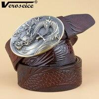 [Veroseice] Dragão do vintage Fivela Genuína Cintos de Couro para Homens New Design em Couro De Luxo Homens Cinto de Cowboy Cintura Alta Qualidade