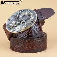 [Veroseice] Vintage Drachen Schnalle Echtes Leder Gürtel für Männer Neue Design Luxus Rindsleder Männer Gürtel Cowboy Bund Hohe Qualität