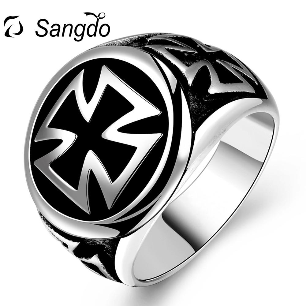 Sangdo Hot Sale Ring Retro Cross Stainless Steel Ring Fashion Creative Rings Punk Rock Personality Finger Rings For Men