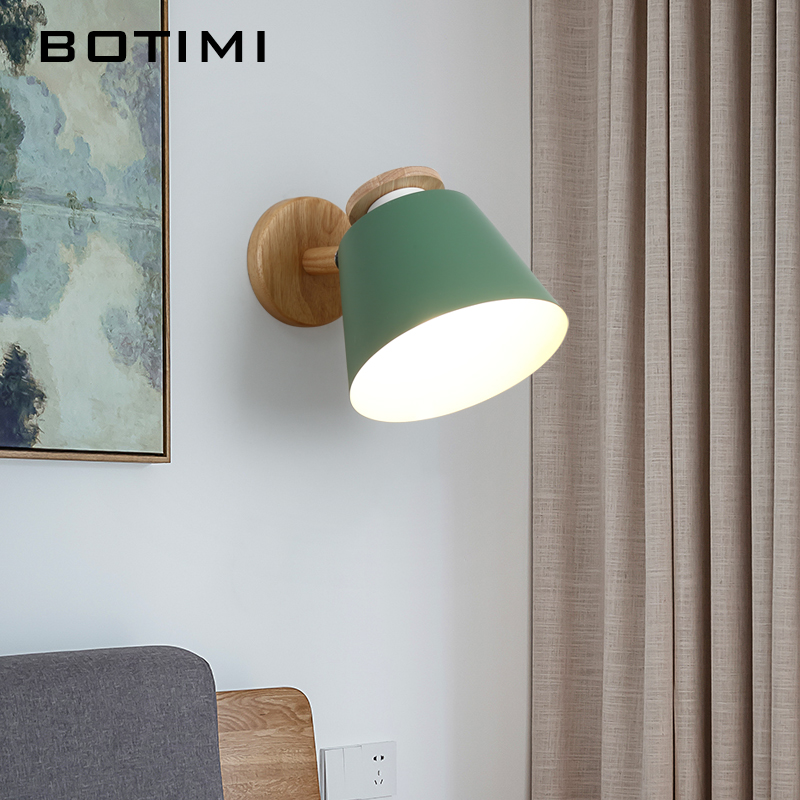 BOTIMI Nordic Adjustable LED Wall Lights For Bedroom Wooden E27 Reading Wall Sconce Wall Mounted Metal Bedside Lighting