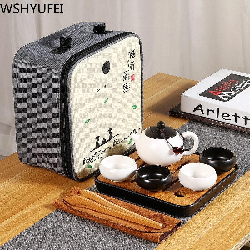 Thé chinois de voyage Kung Fu ensemble de thé en céramique Portable théière porcelaine Teaset Gaiwan thé tasses de thé cérémonie théière avec sac de voyage