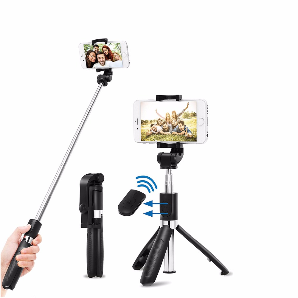 Duszake Monopod Bluetooth Selfie Stick with Bluetooth Controller Mini Tripod Selfie Stick for iPhone Smartphones BLuetooth