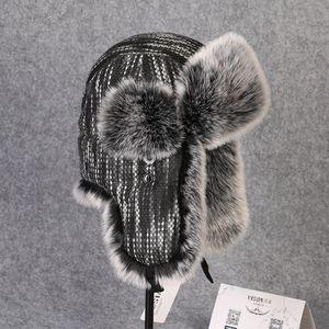 Image 5 - Chapeau bombardier en fourrure en lapin Rex, couvre neige, épaisse et chaude, en fourrure russe pour hommes, couvre oreilles, Ushanka, chaude, B 8433