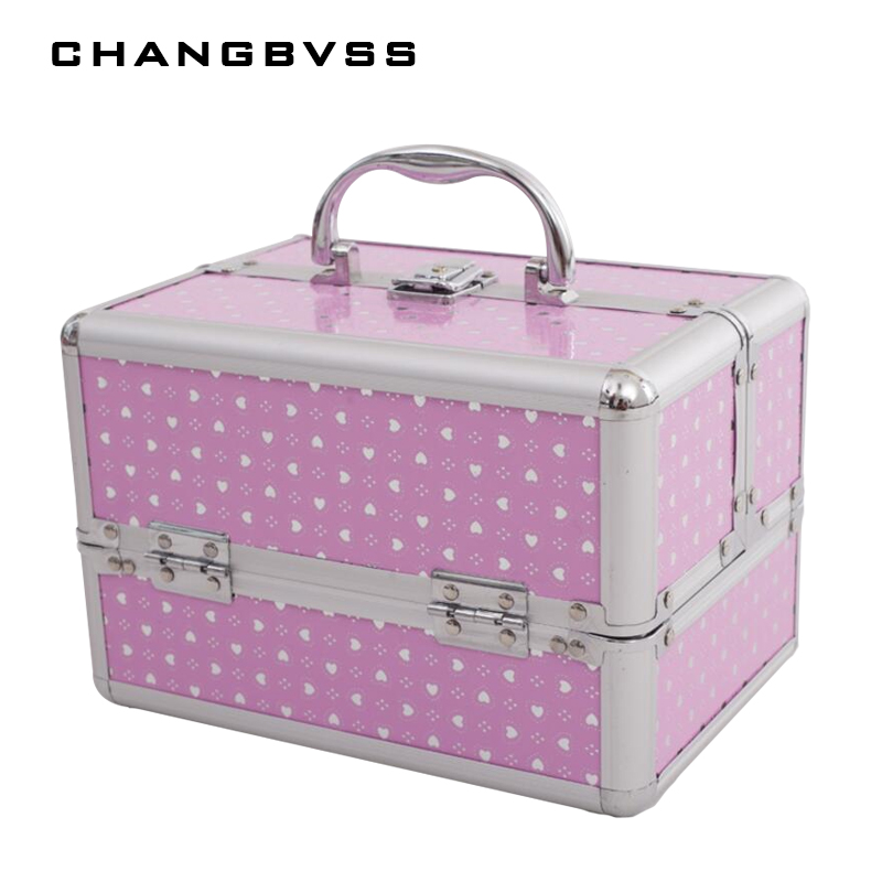 NEW Fashion 3 Layers Storage Box Beauty Case For Cosmetics,Cosmetic Bag For Make Up,Girl's Gift Jewelry Storage Box,24*17*18cm
