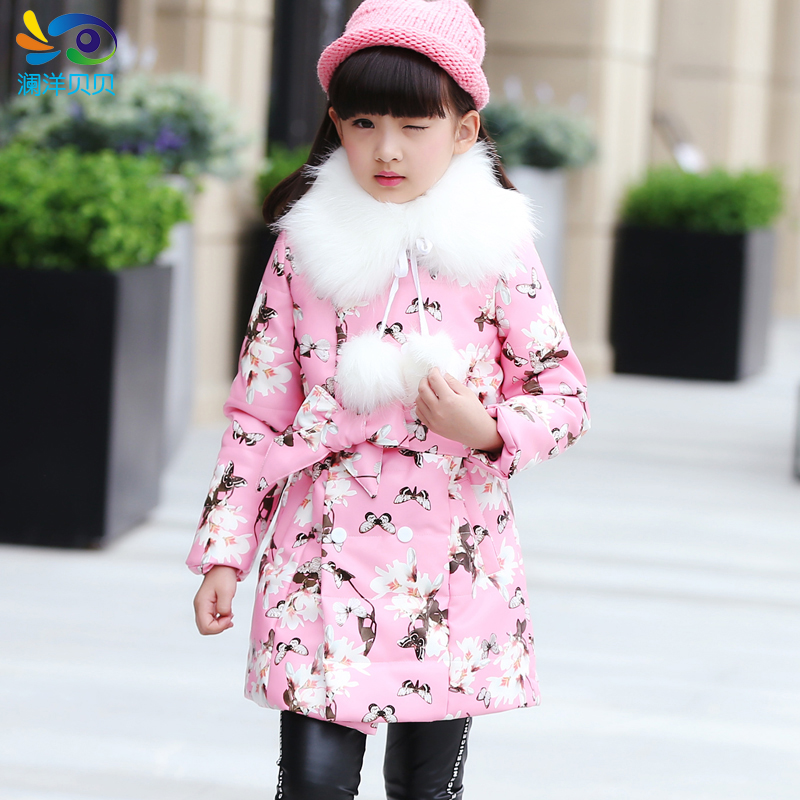 ФОТО Female winter child cotton-padded jacket outerwear  children's clothing child medium-long fur collar slim trench outerwear