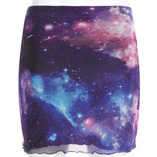 Printed Patchwork Mesh Double Layer Skirt SF