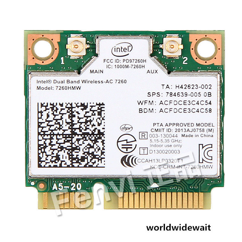 Intel 7260AC 7260HMW 802.11ac Dual Band 2.4/5GHz Wi-Fi Bluetooth 4.0 Card tp link wifi router wdr6500 gigabit wi fi repeater 1300mbs 11ac dual band wireless 2 4ghz 5ghz 802 11ac