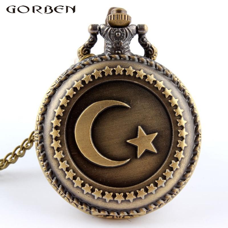 Vintage Bronze Turkey Flag Quartz Pocket Watch Necklace Moon Star Circle  Pendant Watch For Men Women